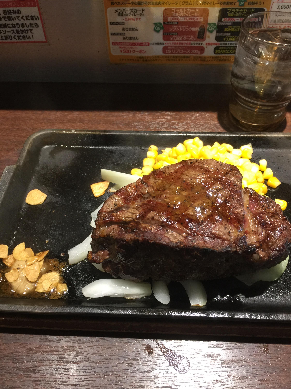ランニング後はいきなりステーキで赤身肉フィレを!